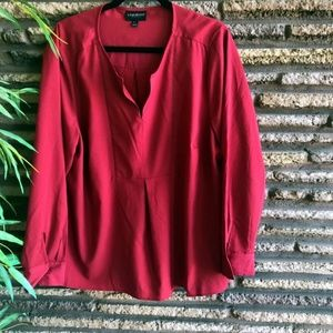 Lane Bryant Cranberry Red Popover Blouse 18/20